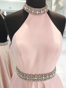 Gorgeous A Line Halter Backless Pink Satin Long Prom Dresses with Beading, Elegant Long Evening Party Dresses