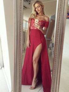 Sexy A Line Off the Shoulder Short Sleeves High Split Red Lace Long Prom Dresses, Charming Evening Dresses