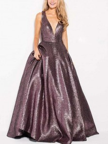 Charming Ball Gown V Neck Cross Back Grey Sparkly Satin Long Prom Dresses, Unique Evening Dresses with Bow