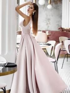 Charming Ball Gown V Neck Open Back Light Pink Long Prom Dresses, Vintage Satin Long Evening Dresses