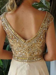 Gorgeous A Line Scoop Open Back Apricot Chiffon Beading Long Prom Dresses, Sparkly Evening Dresses