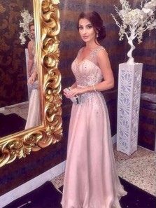 Eelgant A Line V Neck Open Back Blush Pink Long Prom Dresses with Beading, Evening Party Dresses