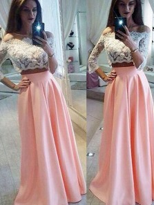Charming Two Piece Off the Shoulder Half Sleeves Pink and White Lace Long Prom Dresses, Beautiful Evening Dresses