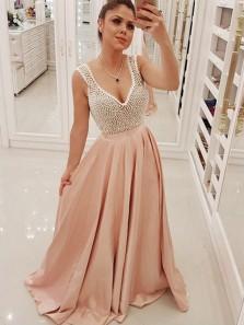Gorgeous A Line V Neck Open Back Blush Pink Long Prom Dresses with Pearls, Elegant Evening Dresses