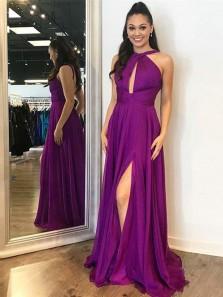 Charming A Line Cross Neck Fuchsia Chiffon Long Prom Dresses, Elegant Evening Dresses