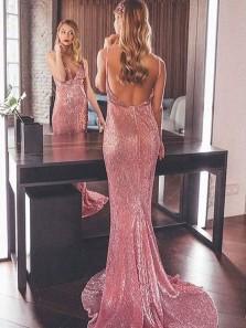 Charming Mermaid V Neck Backless Blush Pink Sequins Long Prom Dresses, Elegant Evening Dresses