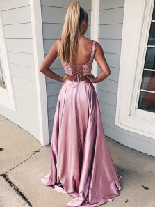Charming A Line Two Piece Sweetheart Cross Back Split Blush Pink Lace Long Prom Dresses, Elegant Evening Party Dresses PD1119001