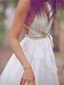 Fairy A Line V Neck Backless White and Champagne Lace Long Wedding Dresses with Beading