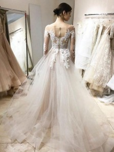 Elegant Ball Gown V Neck Long Sleeves Ivory Lace Long Wedding Dresses, Beautiful Wedding Gowns