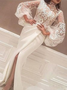 Unique Mermaid Round Neck Long Sleeves Split Ivory Lace Long Prom Dresses, Elegant Evening Dresses with Puff Sleeves