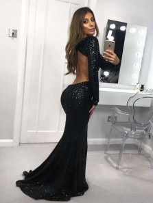 Charming Mermaid Round Neck Backless Long Sleeves Black Sequins Long Prom Dresses, Elegant Evening Party Dresses