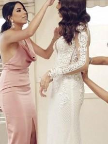 Sheath V Neck Backless Spaghetti straps Blush Pink Split Long Bridesmaid Dresses