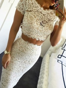 Charming Sheath Two Piece Round Neck Short Sleeves White and Champagne Short Prom Dresses, Short Homecoming Dresses
