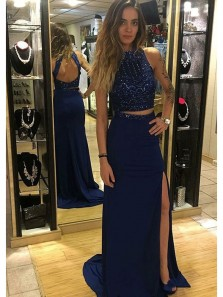 Charming Sheath Two Piece Halter Backless Royal Blue Split Long Prom Dresses with Beading, Flare Elegant Evening Dresses