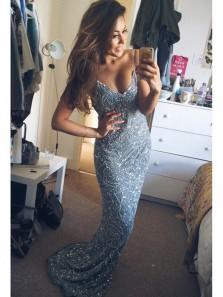 Flare Mermaid V Neck Spaghetti Straps Dark Blue Beaded Long Prom Dresses, Gorgeous Evening Dresses