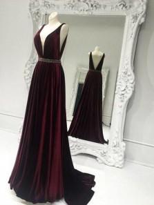 Charming A Line Deep V Neck Open Back Burgundy Velvet Long Prom Dresses with Beading, Elegant Evening Dresses with Train