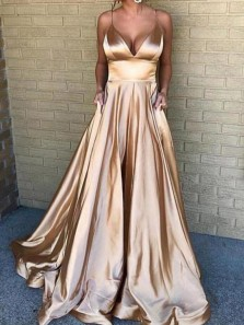 Gorgeous A Line V Neck Spaghetti Straps Gold Long Prom Dresses with Pockets, Long Evening Party Dresses