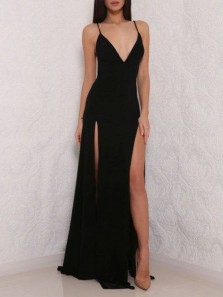 Simple Sheath V Neck Backless Spaghetti Straps Split Black Long Prom Dresses Under 100, Sexy Evening Dresses