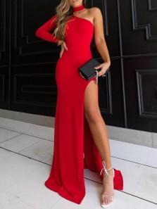 Charming Sheath Halter High Split Black /Red Elastic Satin Long Prom Dresses, Sexy Evening Party Dresses