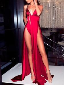 Sexy A Line V Neck Spaghetti Straps Dark Red Satin Long Prom Dresses Under 100, Charming Evening Dresses