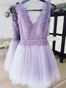 Cute A Line V Neck Lavender Lace Short Homecoming Dresses with Beading, Short Prom Dresses