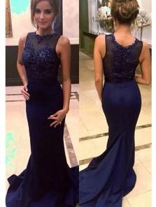 Charming Mermaid Round Neck Navy Blue Lace Long Prom Dresses with Beading, Elegant Evening Dresses