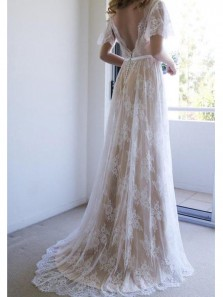 Flary A Line V Neck Backless Short Sleeves Champagne and White Long Wedding Dresses, Lace Wedding Gowns