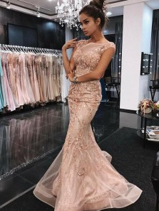 Gorgeous Mermaid Scoop Cap Sleeves Blush Pink Lace Long Prom Dresses with Beading, Beautiful Party Evening Dresses