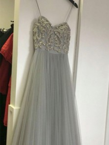 Charming A Line Sweetheart Spaghetti Straps Light Grey Long Prom Dresses with Beading, Flare Evening Party Dresses