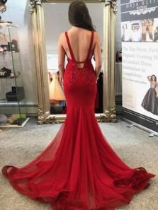 Gorgeous Mermaid V Neck Straps Dark Red Lace Long Prom Dresses, Elegant Party Evening Dresses