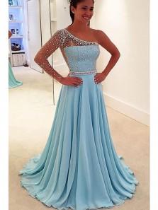 Charming A Line One Shoulder Light Blue Long Sleeves Long Prom Dresses with Beading, Elegant Long Evening Party Dresses