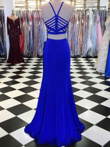 Charming Mermaid Two Piece Halter Cross Back Royal Blue Long Prom Dresses, Elegant Evening Dresses