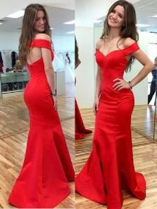 Simple Mermaid Off the Shoulder Open Back Red Long Prom Dresses Under 100, Elegant Evening Dresses