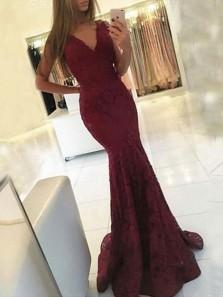Charming Mermaid V Neck Spaghetti Straps Burgundy Long Prom Dresses, Elegant Party Evening Dresses