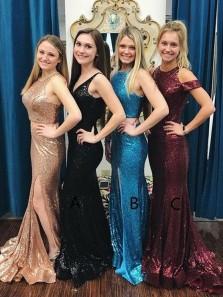 Gorgeous Mermaid V Neck Open Back Champagne Sequins Split Long Prom Dresses, Black Sequins Evening Dresses