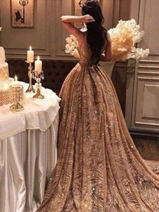 Gorgeous Ball Gown Gold Champagne Sequins Long Prom Dresses, Sparkly Long Evening Dresses