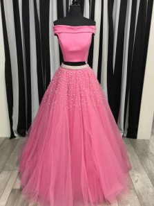 Gorgeous Two Piece Ball Gown Off the Shoulder Pearls Pink Long Prom Dresses, Quinceanera Dresses