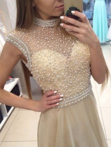 Sparkly A Line Halter Champagne Long Prom Dresses with Pearls, Beautiful Evening Party Dresses