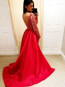 Gorgeous Two Piece Mermaid V Neck Open Back Long Sleeves Red Long Prom Dresses with Beading, Charming Evening Dresses
