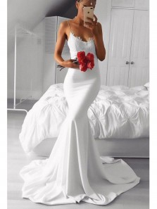 Charming Mermaid Sweetheart Spaghetti Straps White Lace Long Prom Dresses, Simple Evening Dresses
