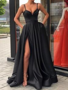 Vintage A Line Sweetheart Spaghetti Straps Black Satin Split Long Prom Dresses, Elegant Evening Dresses PD1124001