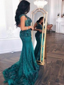 Mermaid V Neck Open Back Peacock Green Lace Long Prom Dresses with Beading, Elegant Evening Party Dresses with Train