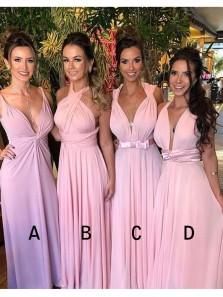 Sheath V Neck / Halter Pink Chiffon Long Bridesmaid Dresses Under 100, Simple Long Bridesmaid Gowns