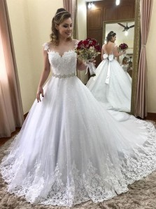 Sparkly Ball Gown Sweetheart White Lace Long Wedding Dresses, Fairy Wedding Dresses with Bow
