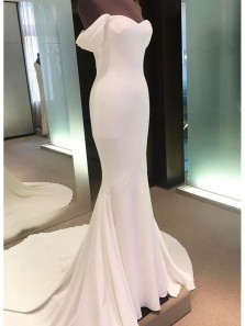 Charming Mermaid Sweetheart Simple White Wedding Dresses with Court Train