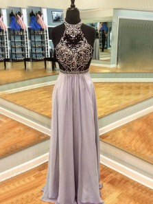 A Line Halter Open Back Black and Grey Beaded Long Prom Dresses, Beautiful Evening Dresses
