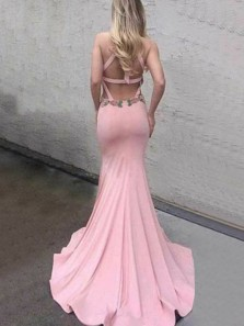 Mermaid Halter Open Back Pink Lace Long Prom Dresses, Simple Evening Dresses