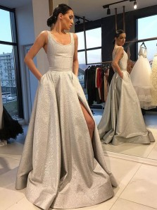 Sparkly Ball Gown O Neck Light Grey Split Long Prom Dresses with Pockets, Simple Vintage Evening Dresses