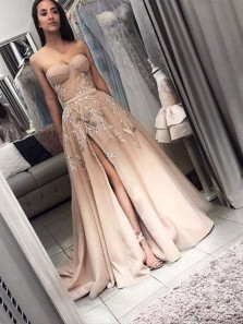 Sweetheart Ball Gown Chiffon Satin Peach Lace Long Prom Dresses, Appliques Long Evening Dresses