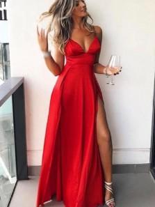 Charming A Line V Neck Spaghetti Straps Split Long Prom Dresses Under 100, Sexy Evening Dresses